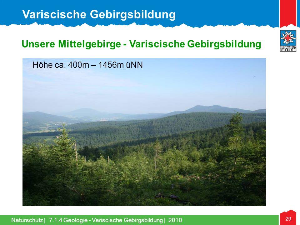 Naturschutz | 29 Unsere Mittelgebirge - Variscische Gebirgsbildung Höhe ca. 400m – 1456m üNN Variscische Gebirgsbildung 7.1.4 Geologie - Variscische G