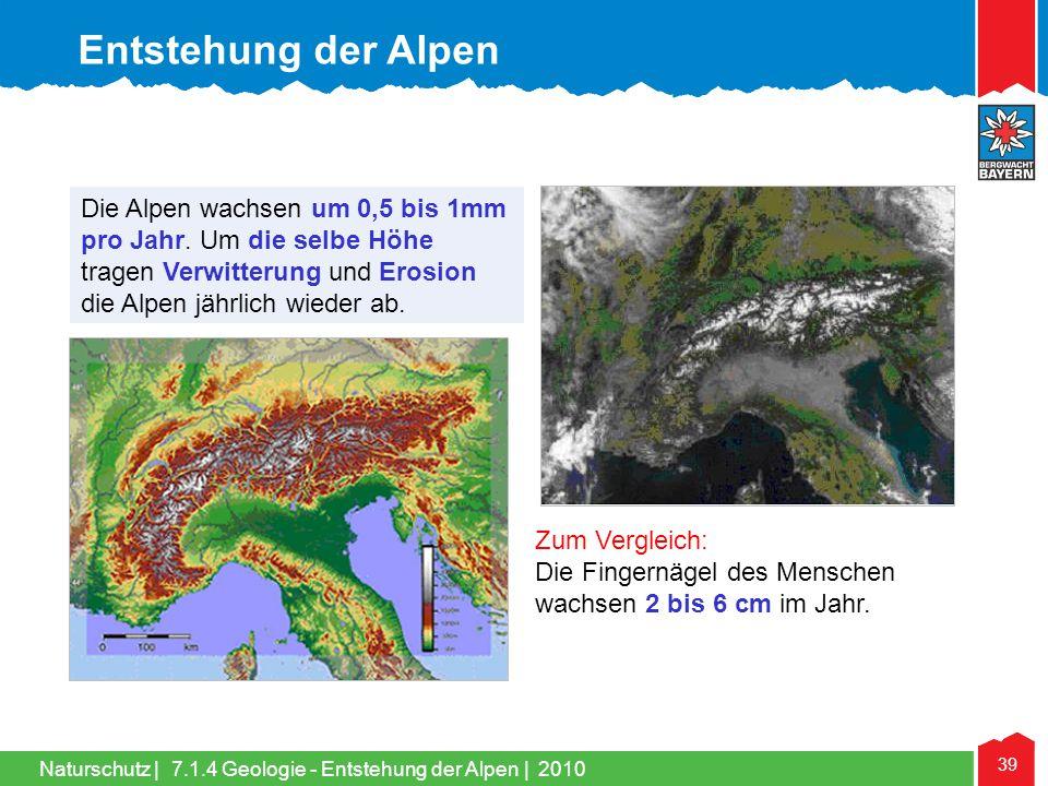 Naturschutz | 39 Die Alpen wachsen um 0,5 bis 1mm pro Jahr. Um die selbe Höhe tragen Verwitterung und Erosion die Alpen jährlich wieder ab. Zum Vergle