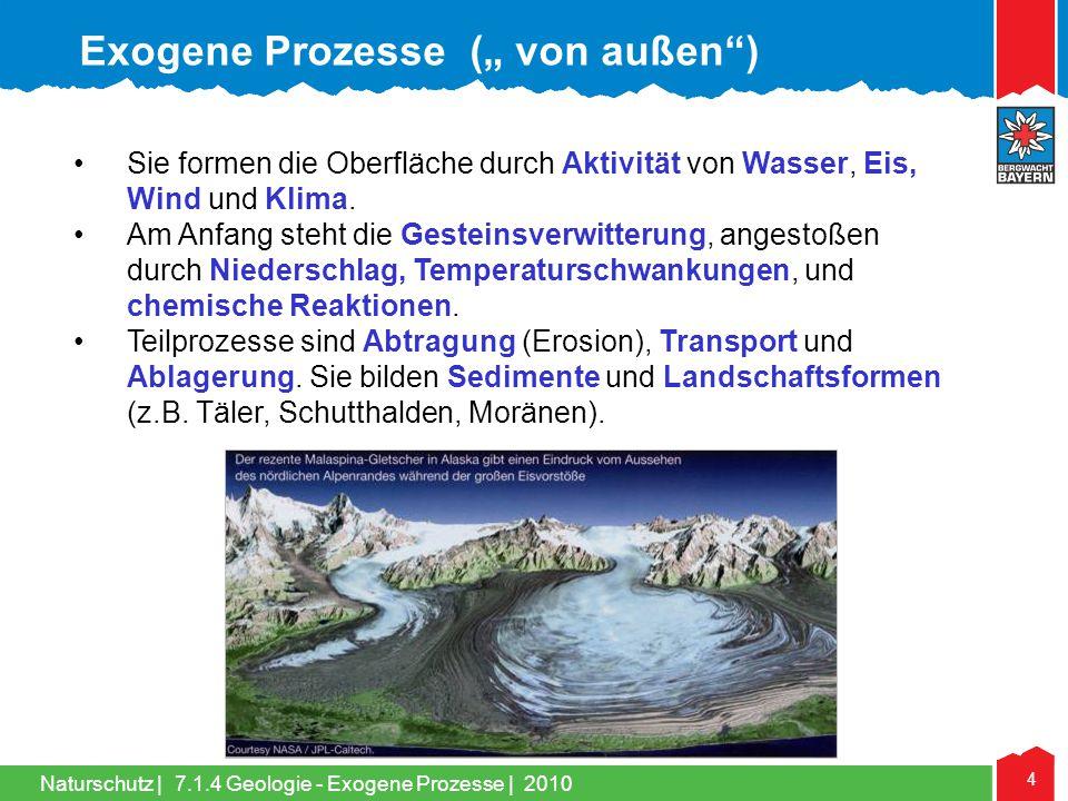 Naturschutz | 4 •Sie formen die Oberfläche durch Aktivität von Wasser, Eis, Wind und Klima. •Am Anfang steht die Gesteinsverwitterung, angestoßen durc