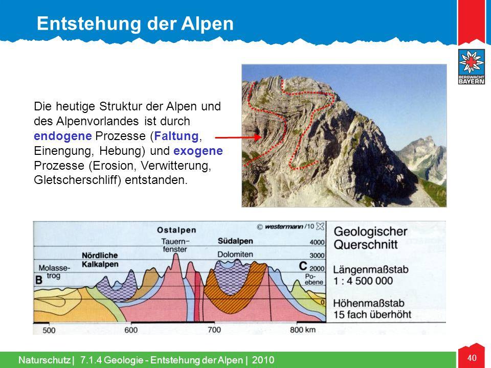 Naturschutz | 40 Die heutige Struktur der Alpen und des Alpenvorlandes ist durch endogene Prozesse (Faltung, Einengung, Hebung) und exogene Prozesse (