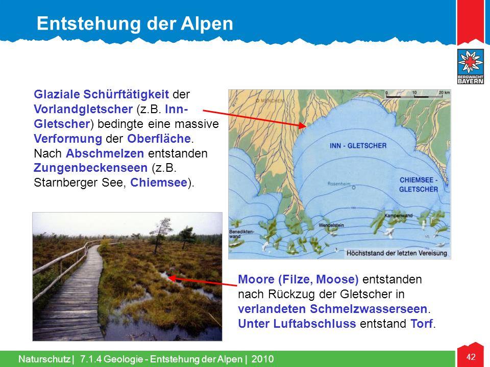 Naturschutz   42 Glaziale Schürftätigkeit der Vorlandgletscher (z.B. Inn- Gletscher) bedingte eine massive Verformung der Oberfläche. Nach Abschmelzen
