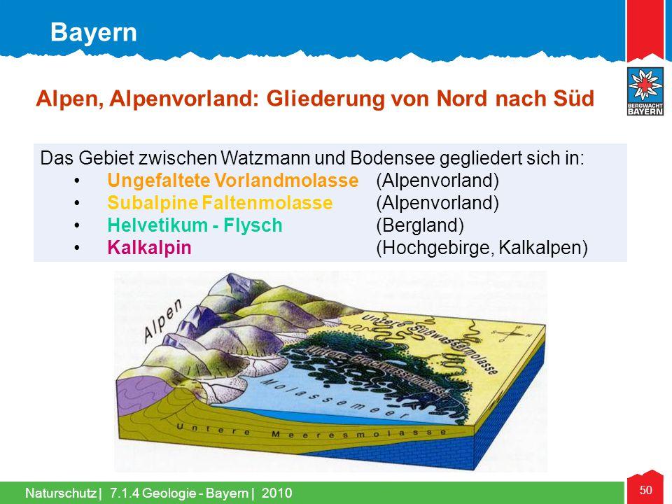 Naturschutz | 50 Das Gebiet zwischen Watzmann und Bodensee gegliedert sich in: •Ungefaltete Vorlandmolasse (Alpenvorland) •Subalpine Faltenmolasse (Al