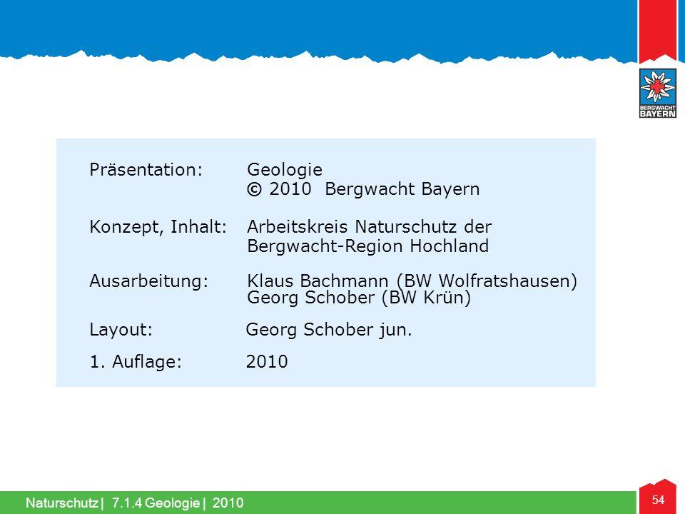 Naturschutz   54 7.1.4 Geologie   2010 Präsentation: Geologie © 2010 Bergwacht Bayern Konzept, Inhalt: Arbeitskreis Naturschutz der Bergwacht-Region H