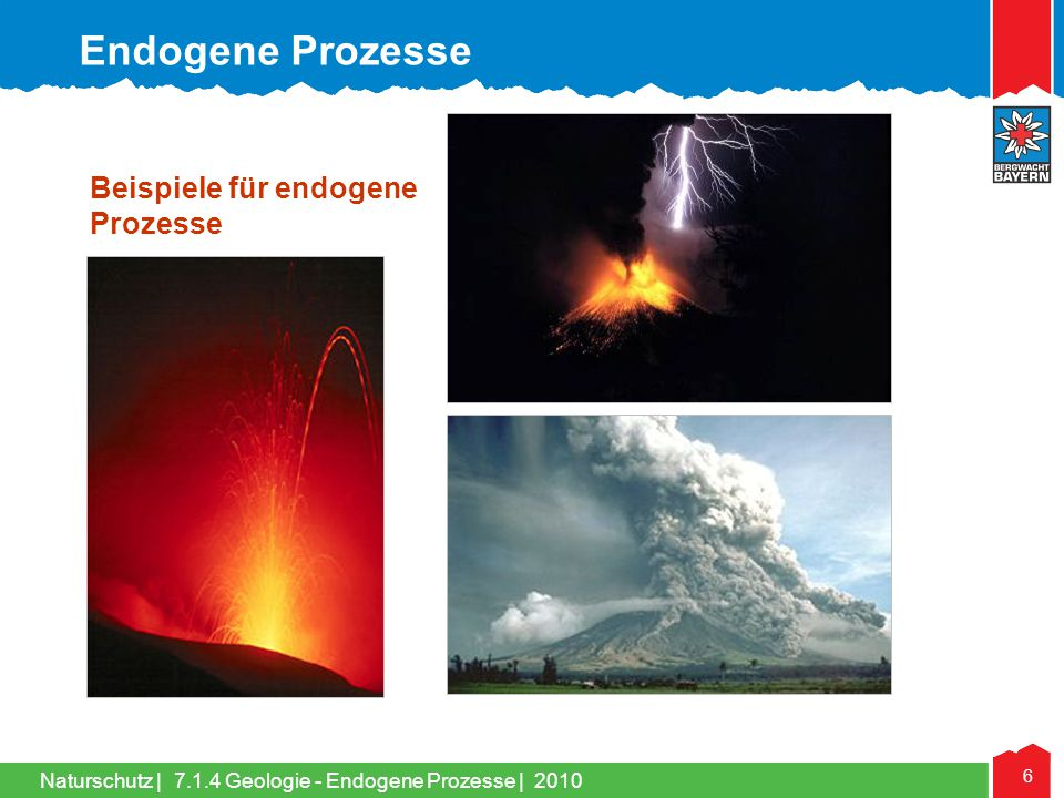 Naturschutz   6 Beispiele für endogene Prozesse 7.1.4 Geologie - Endogene Prozesse   2010 Endogene Prozesse