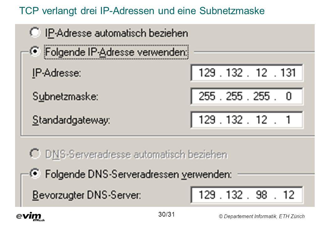 © Departement Informatik, ETH Zürich TCP verlangt drei IP-Adressen und eine Subnetzmaske 30/31