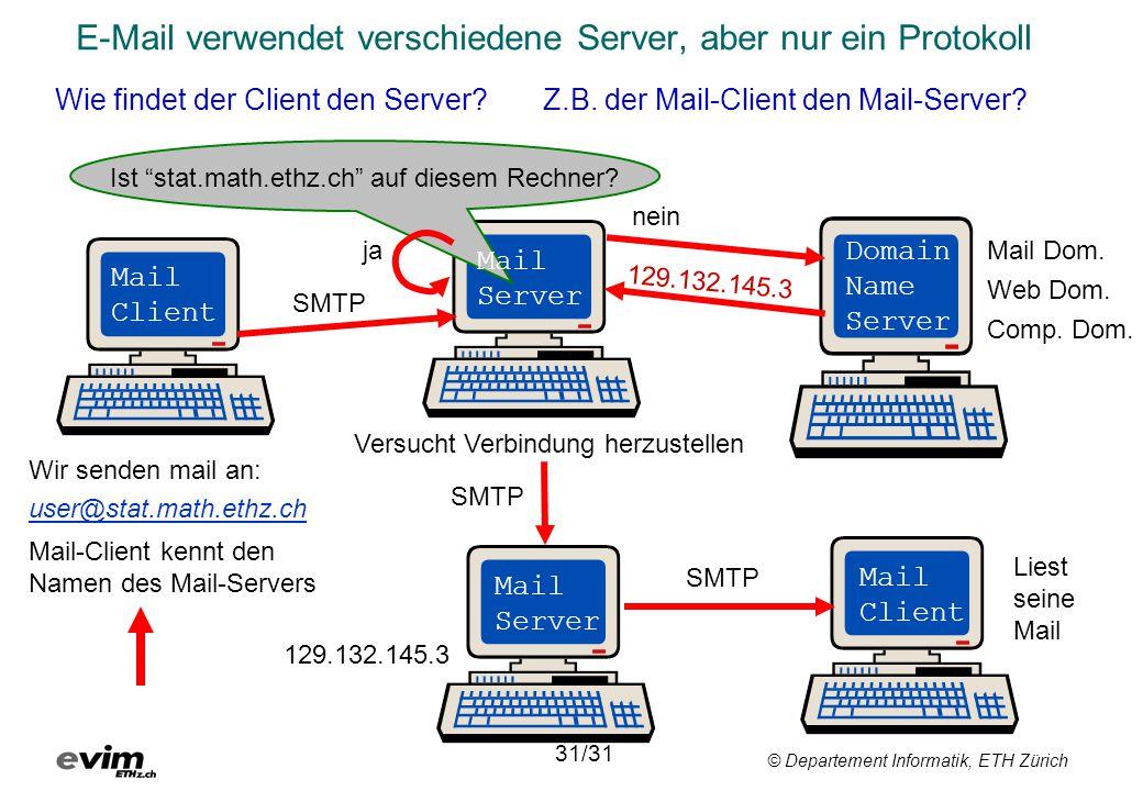 © Departement Informatik, ETH Zürich E-Mail verwendet verschiedene Server, aber nur ein Protokoll Wie findet der Client den Server? Z.B. der Mail-Clie