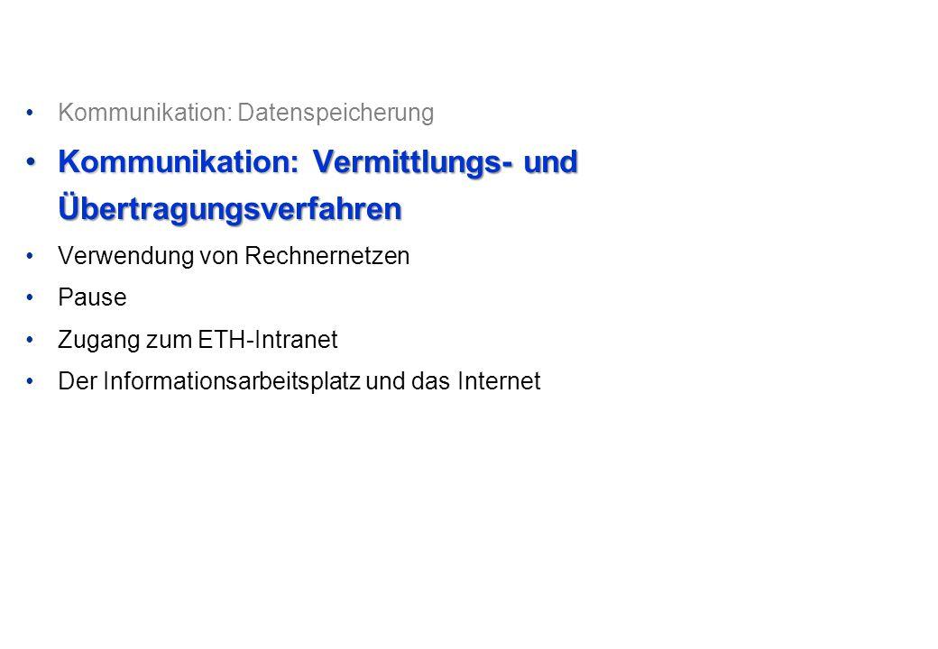 •Kommunikation: Datenspeicherung •Kommunikation: Vermittlungs- und Übertragungsverfahren •Verwendung von Rechnernetzen •Pause •Zugang zum ETH-Intranet