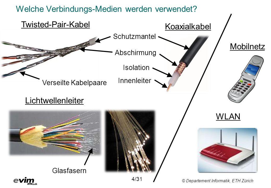 © Departement Informatik, ETH Zürich Welche Verbindungs-Medien werden verwendet? 4/31 Twisted-Pair-Kabel Koaxialkabel Schutzmantel Isolation Abschirmu