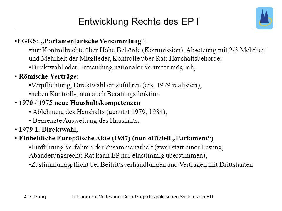 """4. SitzungTutorium zur Vorlesung: Grundzüge des politischen Systems der EU •EGKS: """"Parlamentarische Versammlung"""", •nur Kontrollrechte über Hohe Behörd"""