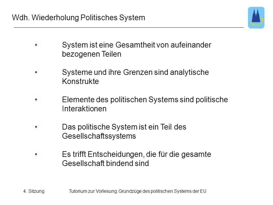 4. SitzungTutorium zur Vorlesung: Grundzüge des politischen Systems der EU Wdh. Wiederholung Politisches System • System ist eine Gesamtheit von aufei