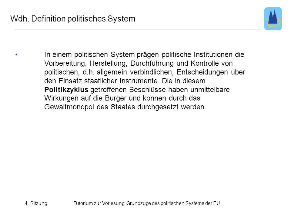 4. SitzungTutorium zur Vorlesung: Grundzüge des politischen Systems der EU • In einem politischen System prägen politische Institutionen die Vorbereit