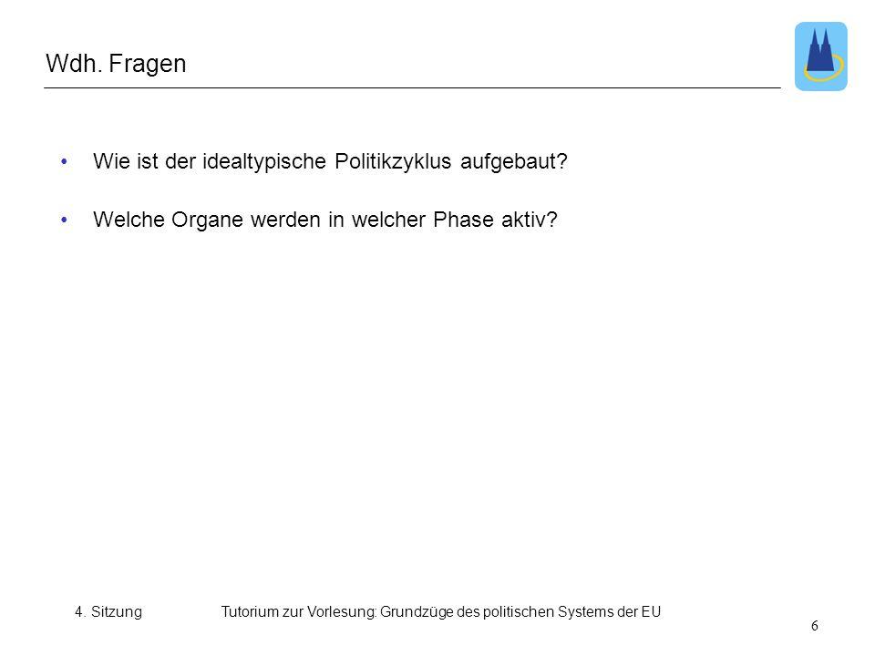 4. SitzungTutorium zur Vorlesung: Grundzüge des politischen Systems der EU •Wie ist der idealtypische Politikzyklus aufgebaut? •Welche Organe werden i