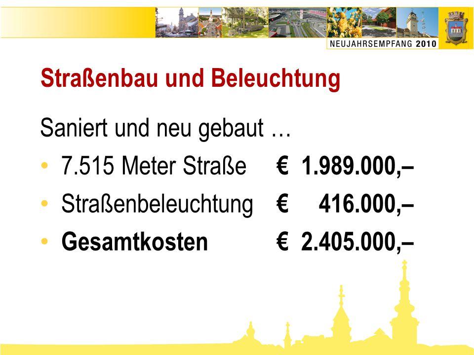 Straßenbau und Beleuchtung Saniert und neu gebaut … • 7.515 Meter Straße € 1.989.000,– • Straßenbeleuchtung € 416.000,– • Gesamtkosten€ 2.405.000,–