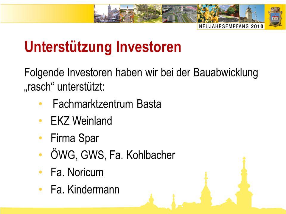 """Unterstützung Investoren Folgende Investoren haben wir bei der Bauabwicklung """"rasch"""" unterstützt: • Fachmarktzentrum Basta • EKZ Weinland • Firma Spar"""