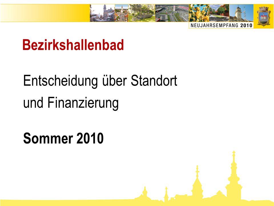 Bezirkshallenbad Entscheidung über Standort und Finanzierung Sommer 2010