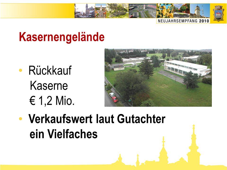 • Rückkauf Kaserne € 1,2 Mio. • Verkaufswert laut Gutachter ein Vielfaches Kasernengelände