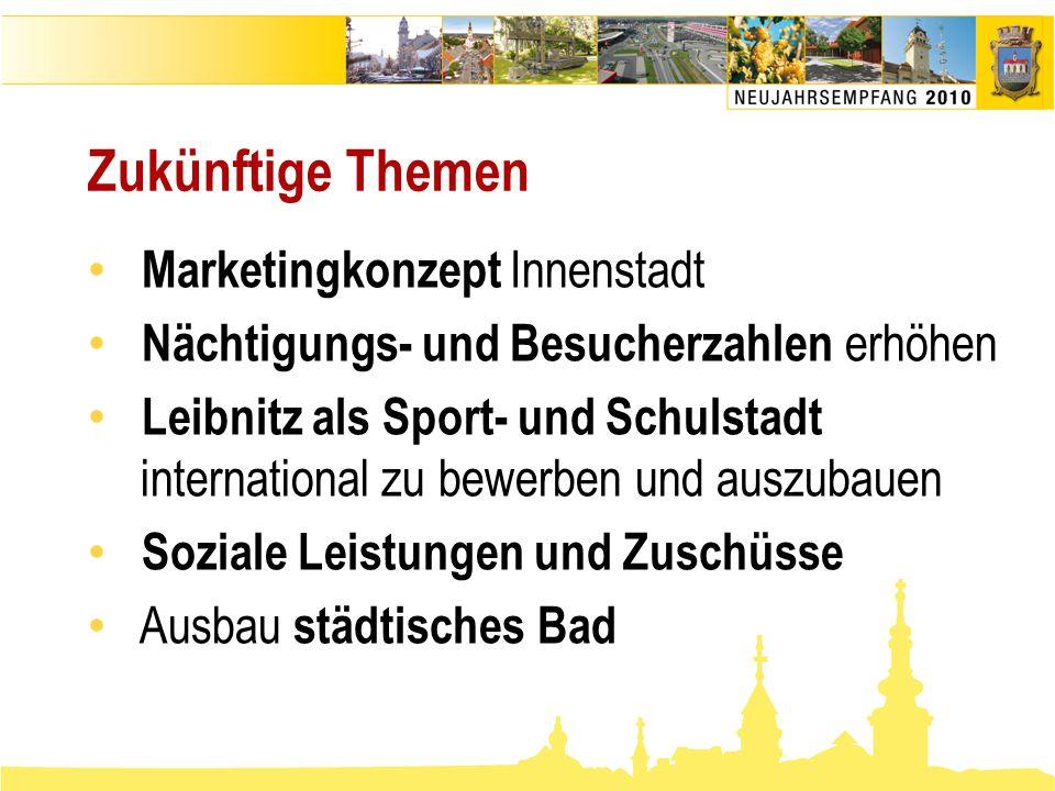Zukünftige Themen • Marketingkonzept Innenstadt • Nächtigungs- und Besucherzahlen erhöhen • Leibnitz als Sport- und Schulstadt international zu bewerb