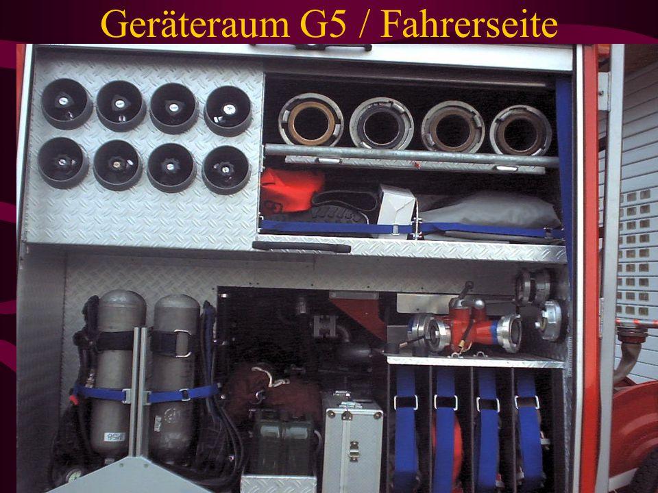 Geräteraum G3 / Fahrerseite Sprungtuch ST 8 Hölzer C-Schlautragekörbe 4x pro Korb 3 C-Schläuche Hitzschutz Form 2 Kopfhaube und Umhang