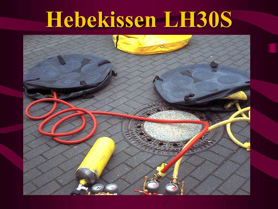 Gerätraum G2 / Beifahrerseite Luftheber LH 30 2 Kissen (13 t) Druckluftflaschen 6l (nicht für Atemschutz!!!!)