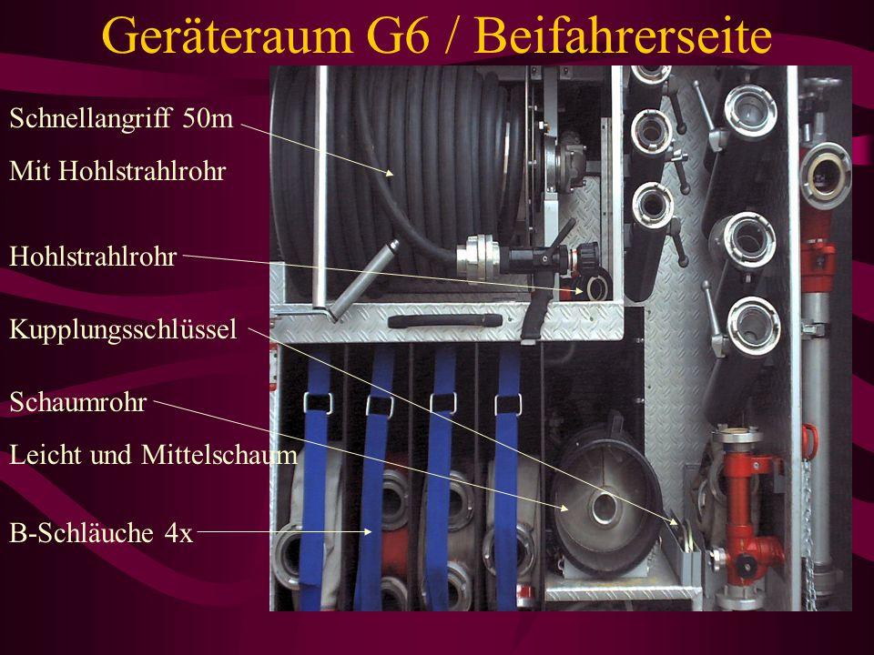 Geräteraum G4 / Beifahrerseite Ansaugschlauch für Zumischer (oberhalb der Schaummittel Kanister ) Schaummittelkanister 6 x 20l