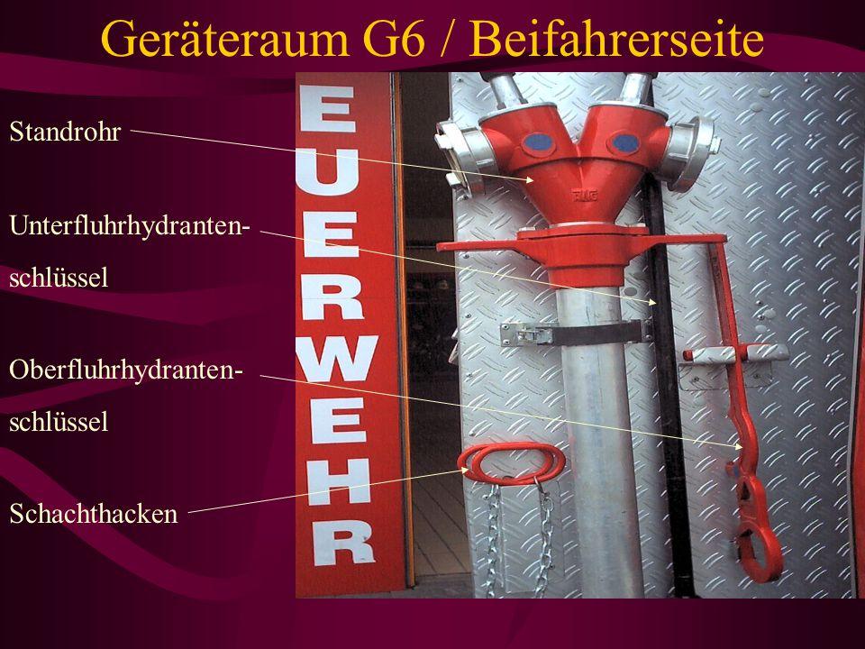 Geräteraum G6 / Beifahrerseite Stützkrümmer 2x BM-Strahlroh 2x Übergangsstück C-D DM-Strahlrohr Zumischer Z4 5m B-Schlauch/ Füllschlauch
