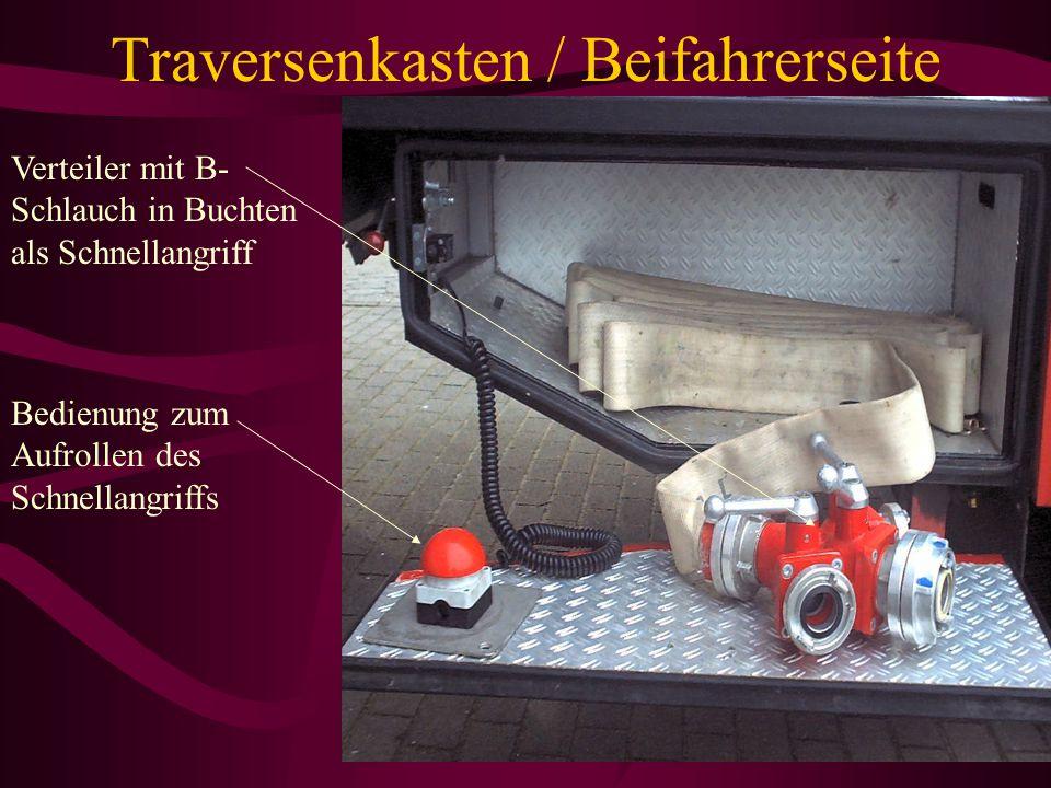 Geräteraum G6 / Beifahrerseite Standrohr Unterfluhrhydranten- schlüssel Oberfluhrhydranten- schlüssel Schachthacken