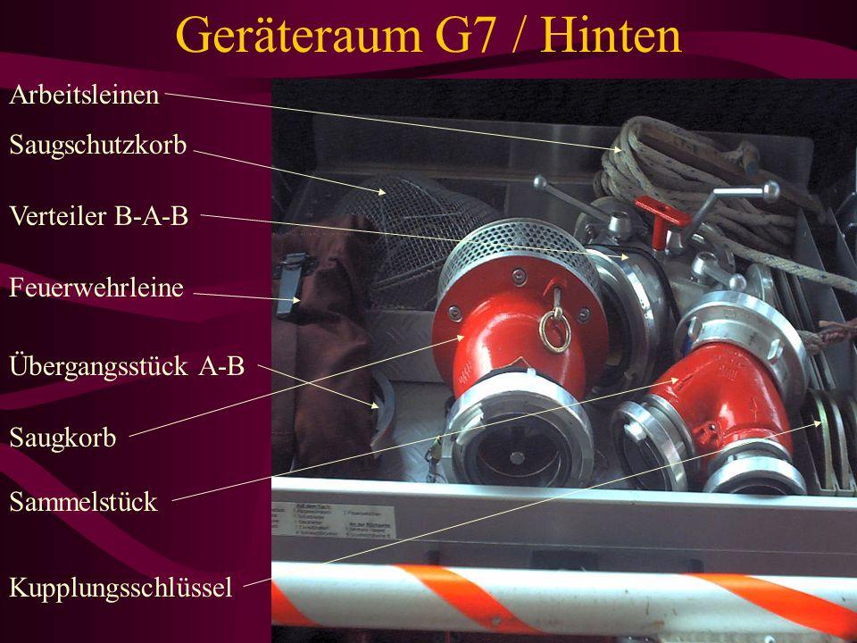 Geräteraum G7 / Hinten Fahrbahre Haspel 2 Mann 8 B-Schläuche (10 B-Schläuche) Tripblitzanlage (Verkehrswahranlage