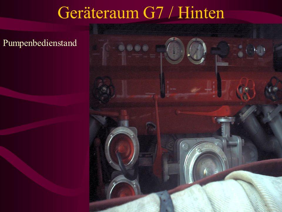 Geräteraum G7 / Hinten Saugschutzkorb Arbeitsleinen Verteiler B-A-B Feuerwehrleine Übergangsstück A-B Saugkorb Sammelstück Kupplungsschlüssel