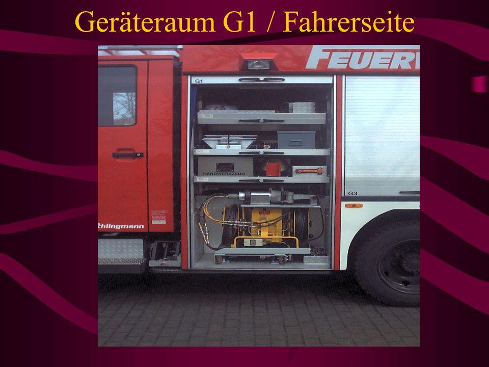 Mannschaftskabine •3 Krankenhausdecken •1 Rettungstuch •3 Paar Säurebeständige Handschuhe •1 Feuerlöscher 12KG •1 Kübelspritze •1 Atemschutzüberwachun