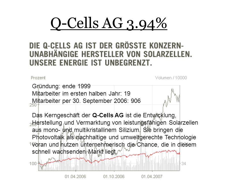 Q-Cells AG 3.94% Gründung: ende 1999 Mitarbeiter im ersten halben Jahr: 19 Mitarbeiter per 30.