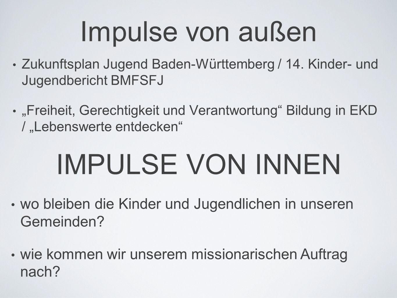 """Impulse von außen • Zukunftsplan Jugend Baden-Württemberg / 14. Kinder- und Jugendbericht BMFSFJ • """"Freiheit, Gerechtigkeit und Verantwortung"""" Bildung"""