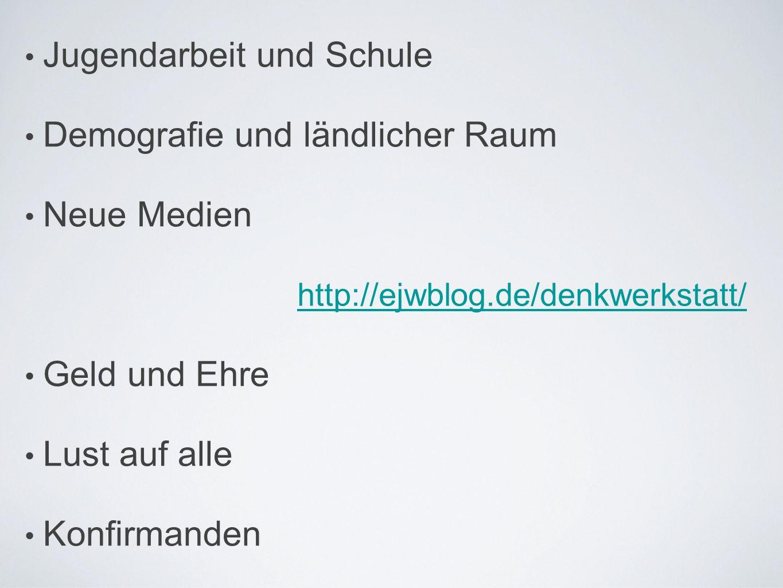 • Jugendarbeit und Schule • Demografie und ländlicher Raum • Neue Medien • Geld und Ehre • Lust auf alle • Konfirmanden http://ejwblog.de/denkwerkstat