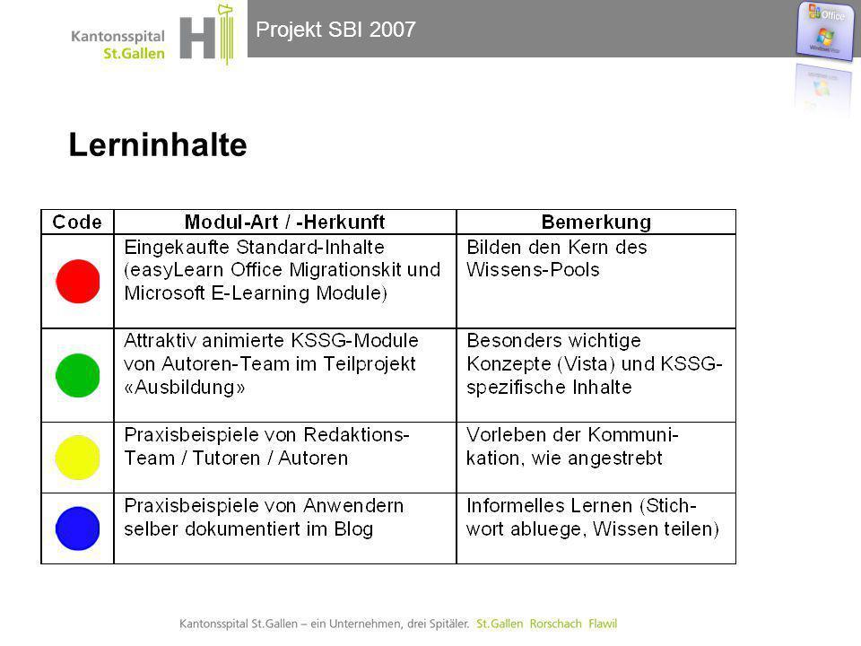 Projekt SBI 2007 Lerninhalte