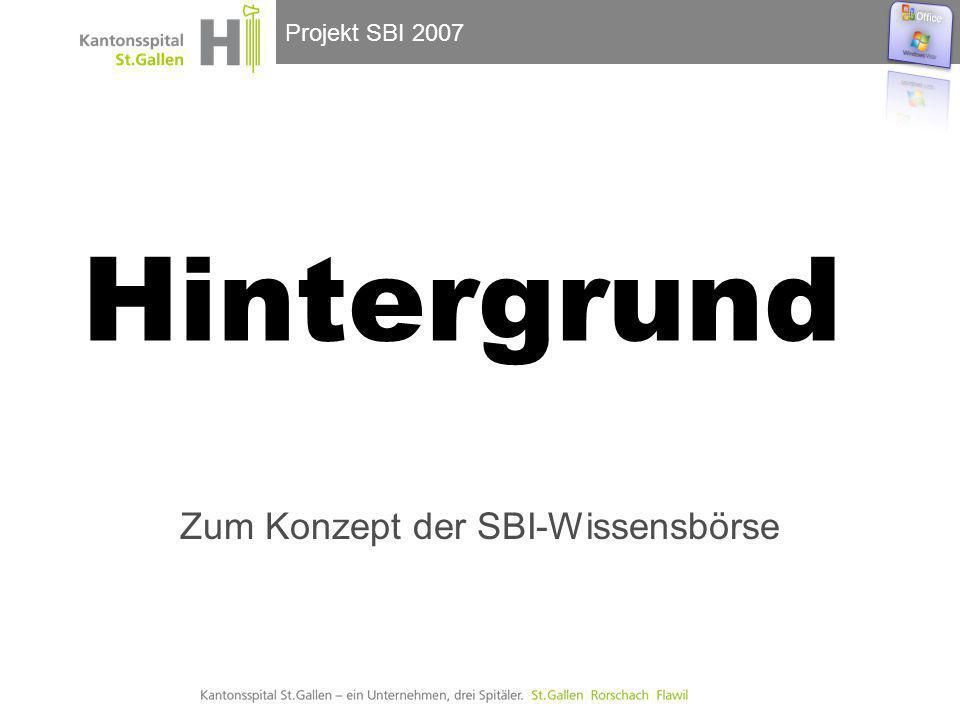 Projekt SBI 2007 Hintergrund Zum Konzept der SBI-Wissensbörse