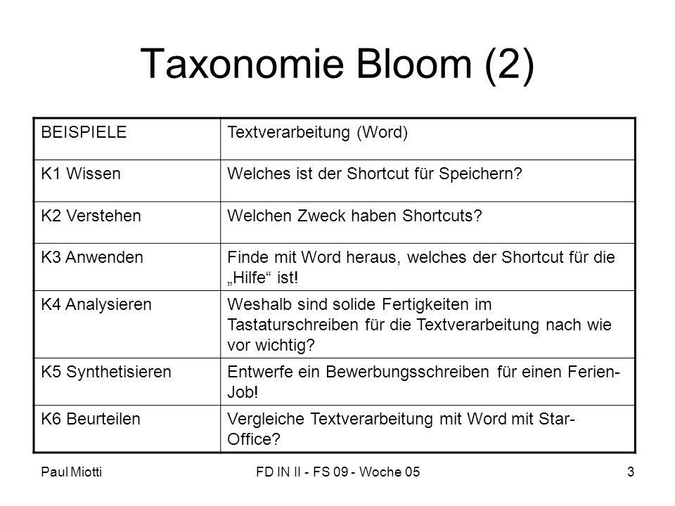 Paul MiottiFD IN II - FS 09 - Woche 053 Taxonomie Bloom (2) BEISPIELETextverarbeitung (Word) K1 WissenWelches ist der Shortcut für Speichern? K2 Verst