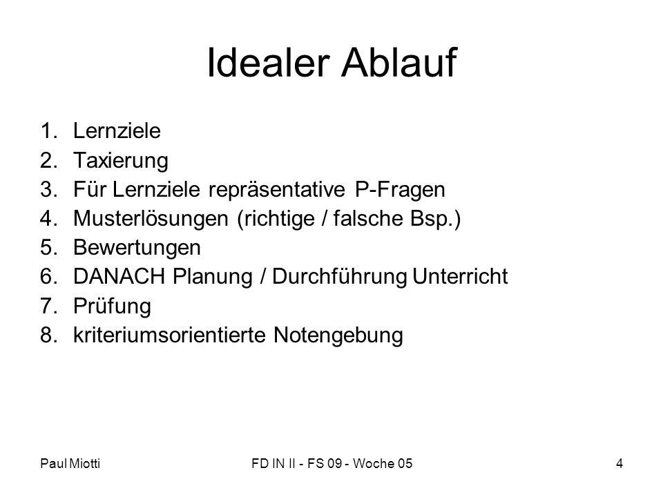 Paul MiottiFD IN II - FS 09 - Woche 054 Idealer Ablauf 1.Lernziele 2.Taxierung 3.Für Lernziele repräsentative P-Fragen 4.Musterlösungen (richtige / fa