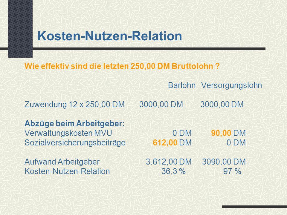 Kosten-Nutzen-Relation Wie effektiv sind die letzten 250,00 DM Bruttolohn ? Barlohn Versorgungslohn Zuwendung 12 x 250,00 DM3000,00 DM 3000,00 DM Abzü