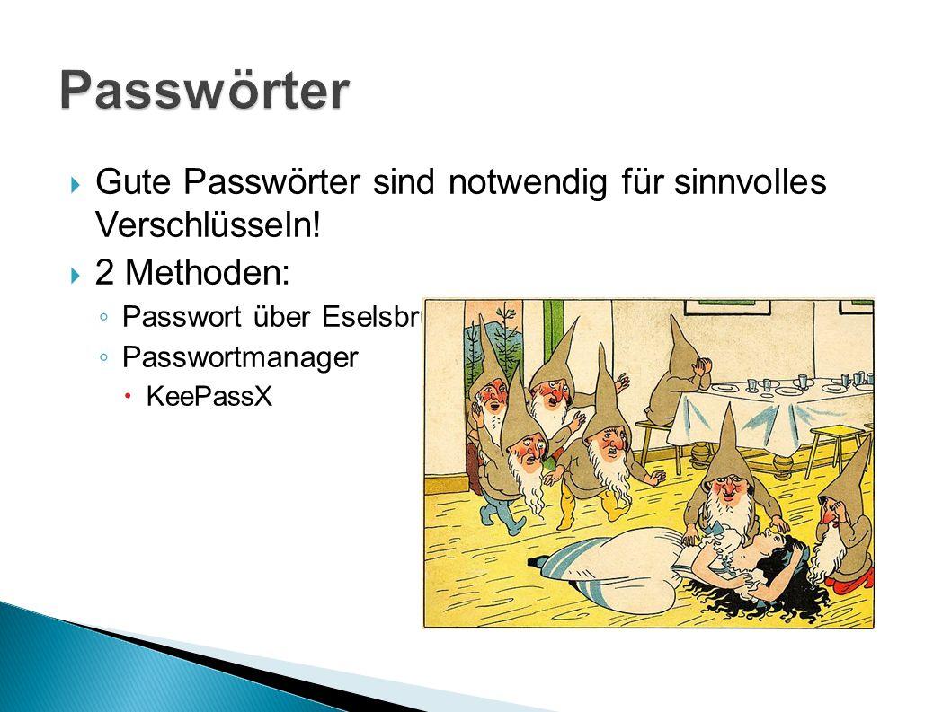  Gute Passwörter sind notwendig für sinnvolles Verschlüsseln.