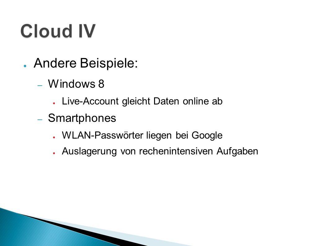 ● Andere Beispiele: – Windows 8 ● Live-Account gleicht Daten online ab – Smartphones ● WLAN-Passwörter liegen bei Google ● Auslagerung von rechenintensiven Aufgaben