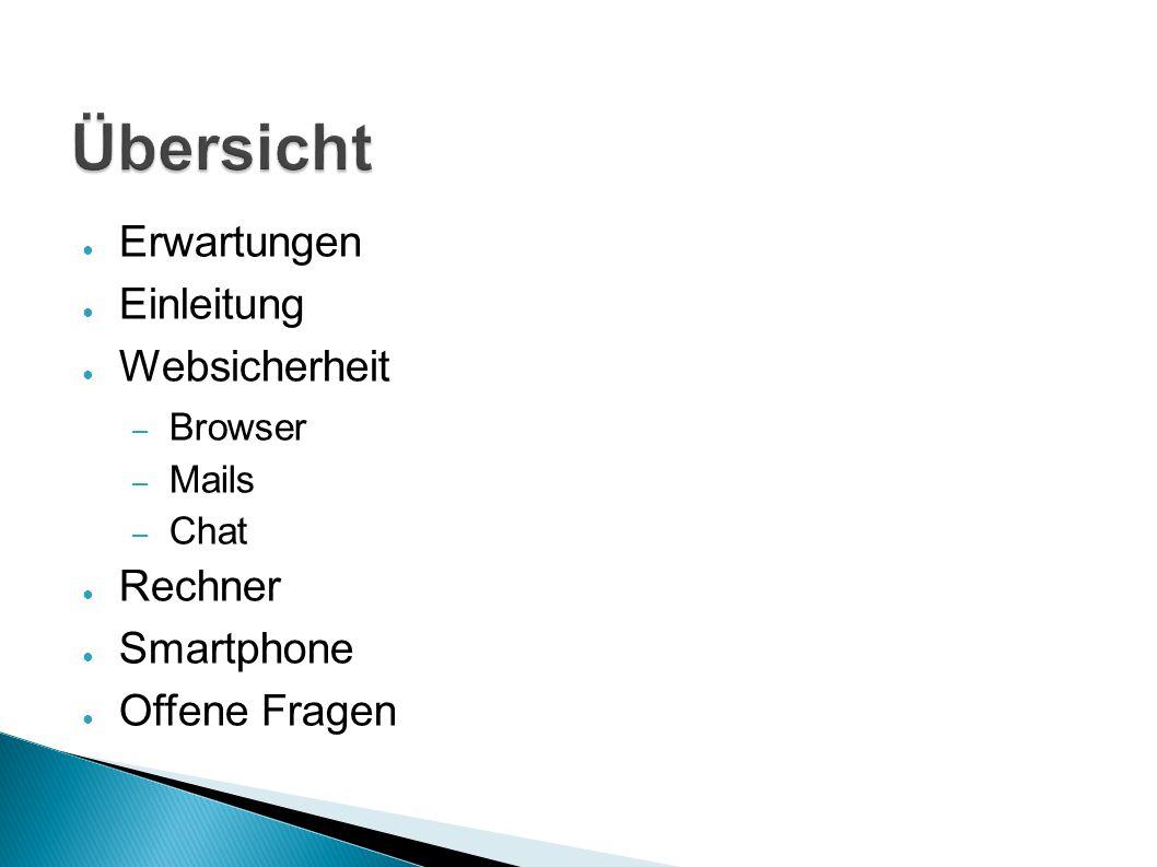 ● Erwartungen ● Einleitung ● Websicherheit – Browser – Mails – Chat ● Rechner ● Smartphone ● Offene Fragen