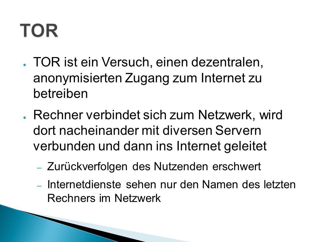 ● TOR ist ein Versuch, einen dezentralen, anonymisierten Zugang zum Internet zu betreiben ● Rechner verbindet sich zum Netzwerk, wird dort nacheinander mit diversen Servern verbunden und dann ins Internet geleitet – Zurückverfolgen des Nutzenden erschwert – Internetdienste sehen nur den Namen des letzten Rechners im Netzwerk