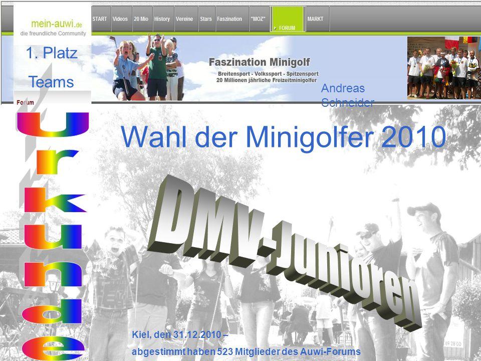 Wahl der Minigolfer 2010 Kiel, den 31.12.2010 – abgestimmt haben 523 Mitglieder des Auwi-Forums 1. Platz Teams Andreas Schneider