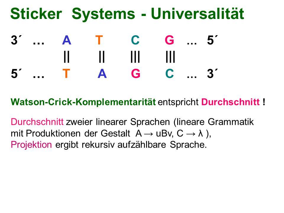 Sticker Systems - Universalität 3´ … A T C G … 5´ 5´ … T A G C … 3´ || || ||| ||| Watson-Crick-Komplementarität entspricht Durchschnitt ! Durchschnitt