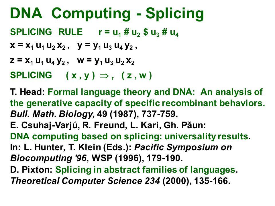 DNA Computing - Splicing SPLICING RULE r = u 1 # u 2 $ u 3 # u 4 x = x 1 u 1 u 2 x 2, y = y 1 u 3 u 4 y 2, SPLICING ( x, y )  r ( z, w ) z = x 1 u 1