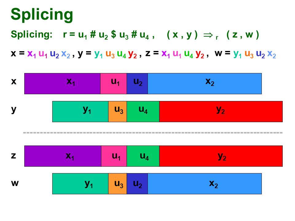 Splicing Splicing: r = u 1 # u 2 $ u 3 # u 4, x = x 1 u 1 u 2 x 2, y = y 1 u 3 u 4 y 2, ( x, y )  r ( z, w ) z = x 1 u 1 u 4 y 2, w = y 1 u 3 u 2 x 2