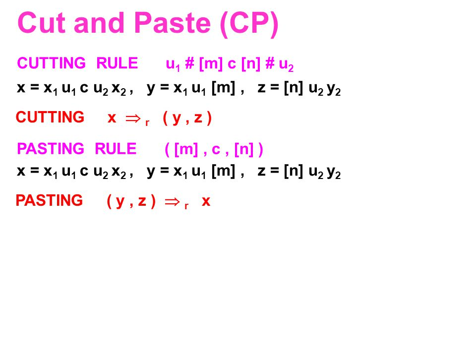 Cut and Paste (CP) CUTTING RULE u 1 # [m] c [n] # u 2 PASTING RULE ( [m], c, [n] ) x = x 1 u 1 c u 2 x 2, y = x 1 u 1 [m], z = [n] u 2 y 2 CUTTING x 
