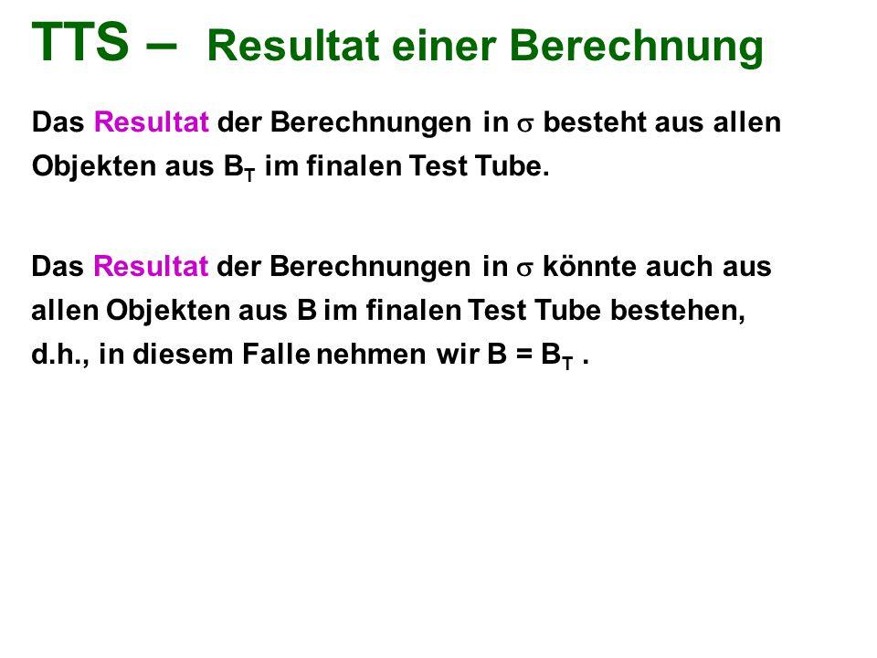 TTS – Resultat einer Berechnung Das Resultat der Berechnungen in  besteht aus allen Objekten aus B T im finalen Test Tube. Das Resultat der Berechnun
