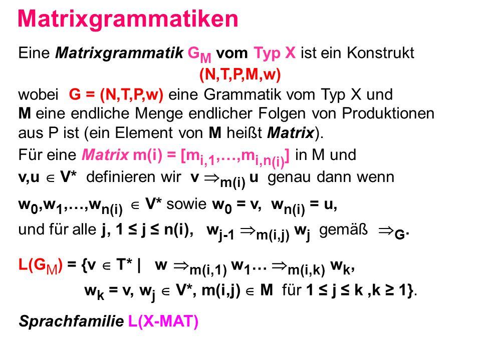 Matrixgrammatiken M eine endliche Menge endlicher Folgen von Produktionen aus P ist (ein Element von M heißt Matrix). Für eine Matrix m(i) = [m i,1,…,