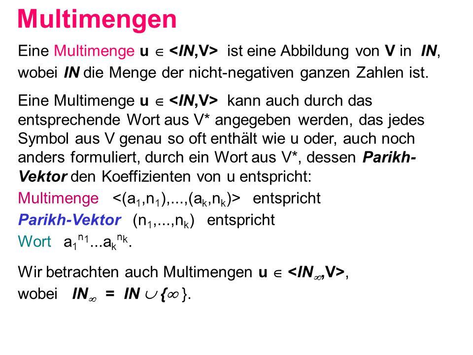 Multimengen Eine Multimenge u  ist eine Abbildung von V in IN, wobei IN die Menge der nicht-negativen ganzen Zahlen ist. Eine Multimenge u  kann auc