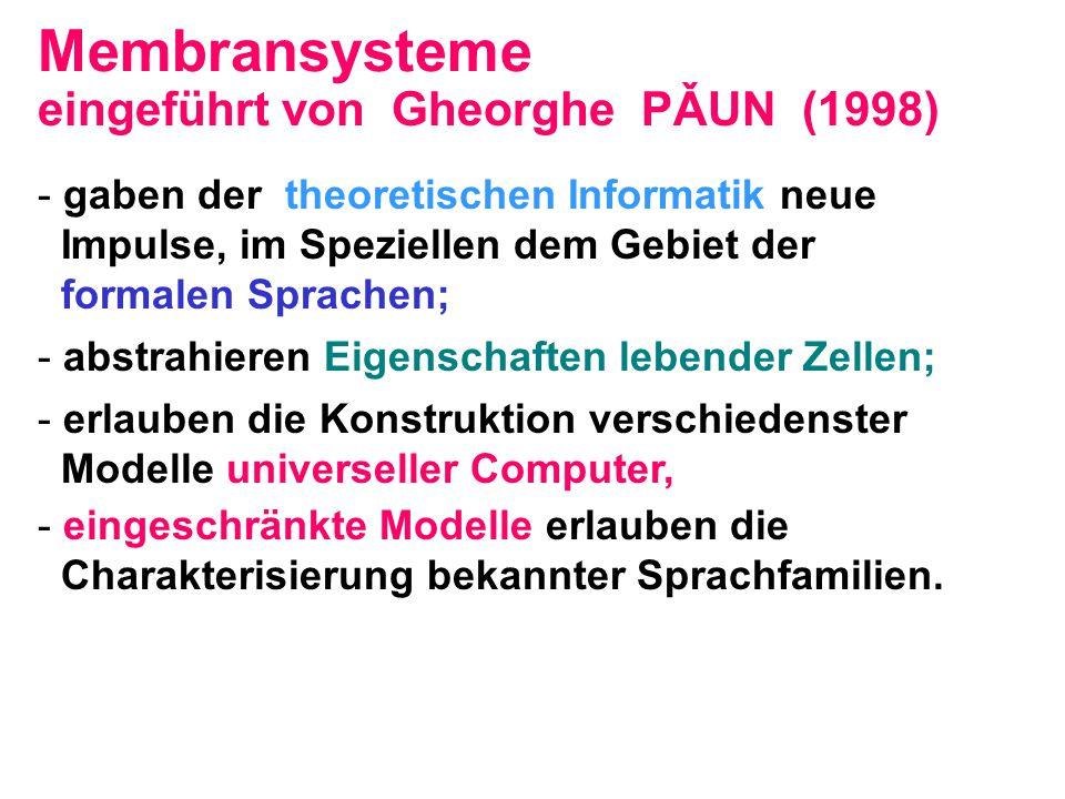 eingeführt von Gheorghe PǍUN (1998) - gaben der theoretischen Informatik neue Impulse, im Speziellen dem Gebiet der formalen Sprachen; - abstrahieren